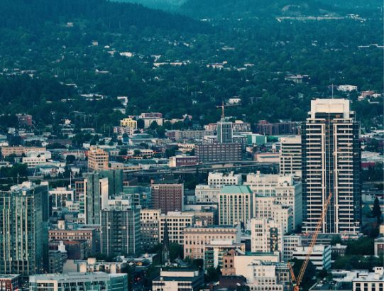 Aerial view of Portland, Oregon.
